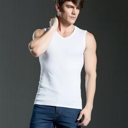 Wholesale 2017 New Wide Shoulder Strap Tank Tops For Men Cotton Solid Mens Muscle Tanks Tops Plus Size Sports Vest Shirts