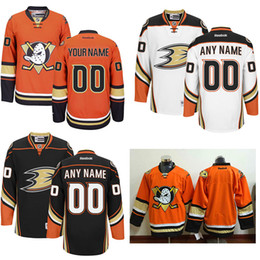 Canada 100% cousu Custom NHL Anaheim Ducks mens Orange Blanc Noir Troisième puissant Canards Violet Blanc vintage ice hockey bon marché Maillots duck custom for sale Offre
