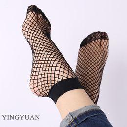 ZYZ1 2017 Fashion Hot fishnet socks Sexy Black Socks Hollow Fish Net Socks Summer Spring Fashion Vintage Transparent Short Sock