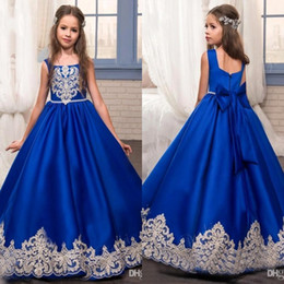 Royal Blue Flower Girls Dresses for Weddings with Gold Lace Appliques Little Girls Pageant Gowns First Communion Dress BA5488