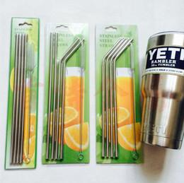304 Stainless Steel Straw Kit Set Drinking Straw Beer Juice Straws Cleaning Brush Set Retail Packing 4+1 Kit Fits Yeti Tumbler Rambler Cups
