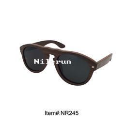 hot selling luxury pilot style ebony wood sunglasses