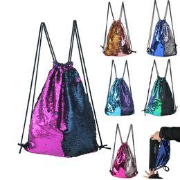Drawstring Bag Sequins Backpacks Portable Beach Travel Practical Backpack Convenient La Mochila