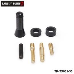 "TANSKY - Universal Mini 1.38"" Fiber Carbon Short Antenna Radio Car Aerial Antenna For Most Cars Silver Black Length 3.5cm TK-TX001-35"