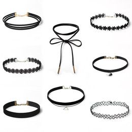 Hot Sales choker for Women Jewelry Sets Black Chokers Many Styles Layers Velvet Leather Lace Elastic Material 8 Pcs lots statement Necklaces