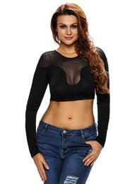 New Spring Summer Women full Sleeve Crop Top Black Seamless Stretch Slim Fit Fitness T-shirt Top Tees Camisetas 25695