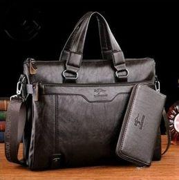 Brand Kangaroo Men Casual Briefcase Business Shoulder Leather Messenger Bags Computer Laptop Handbag Men's Travel Bags