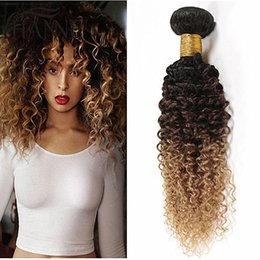 Promotion 27 ombre bouclé Brown Blonde Ombre Hair Extensions 3 Pcs Lot Three Tone 1B / 4/27 Honey Blonde Ombre Kinky Curly Virgin Human Hair Weaves Bundles