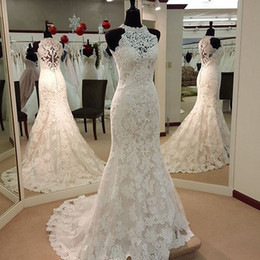 Wholesale Elegant Mermaid Berta Bridal Gowns With Lace Applique Sexy High Neck Sheer Covered Button Sleeveless Court Train Tulle Wedding Dre