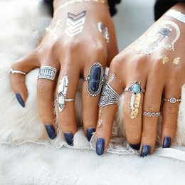 8pcs Set Midi ring Sets for Women Boho Beach Vintage Tibetan Turkish Crystal Silver Color Flower Knuckle Rings Gift