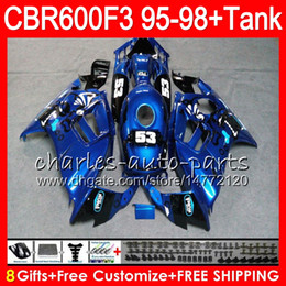 8 Gifts 23 Colors For HONDA CBR600F3 95 96 97 98 CBR600RR FS 2HM37 gloss blue CBR600 F3 600F3 CBR 600 F3 1995 1996 1997 1998 black Fairing