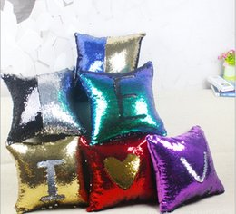 Manufacturer of spot wholesale double color sequins hold pillow Magic magic mermaid cushion for leaning on of pillowcase multi-color optiona