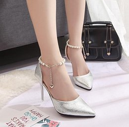 beautiful new summer lady Beaded high-heeled pointed shallow mouth of Korean fine with all-match cool shoes