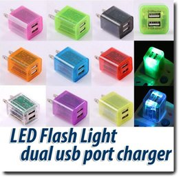 Wholesale Dual USB Home Charger V A Travel Adapter Wall Charger LED Colorful Transparent Universal America Mobile Phone Chargers