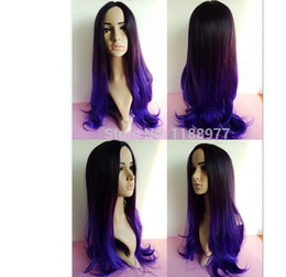 cheap synthetic Black purple ombre two toned color 2014 most popular colors for natural hair free wig cap