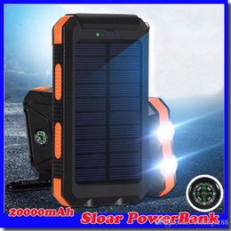 20000mAh 2 USB Port Solar Power Bank Charger External Backup Battery With Retail Box For iPhone iPad Samsung