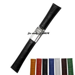 Wholesale Los hombres las mujeres de la venda m m del reloj del cuero genuino de la alta calidad marrón verde azul negro amarillo blanco rojo Líneas del cocodrilo correa del reloj para ROL