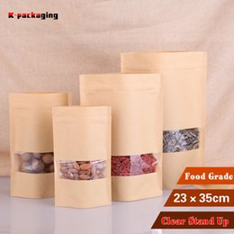 5 pcs 23x35cm Plain Big Paper Bags with Window   Stand up Ziplock Bags   Zipper Kraft Bag for Food