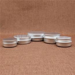 Wholesale Small Travel Jars - Small Lip Balm Jar Empty Cosmetic Eye Cream Silver Aluminum Container Refillable Batom Travel set Tins Bottles 5~50g