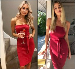 2017 Skinny Hot Summer Cocktail Dresses Sexy Sheath Bodycon Mini Short Homecoming Dresses with Ribbon Fashion OL Gowns in Stock FS1972