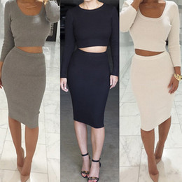 New Women Knit Long Sleeve Bodycon Dress Fashion Two Pieces Stretch Midi Pencil Dress Sexy Night Out Club Dress DZG0306