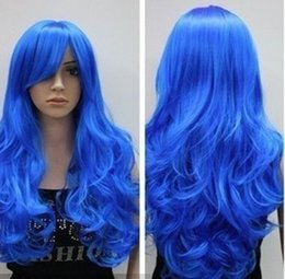 NEW Beautiful long blue wavy women's cosplay synthetic hair wig wigs free shipping