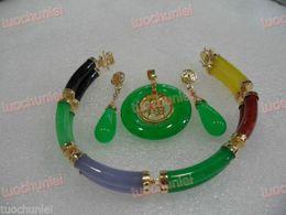 free shipping >Beautiful Multicolor Jade Link Bracelet Green Jade pendant Necklace Earring set no box