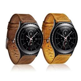 Promotion bracelet en cuir véritable Vente en gros de luxe en cuir véritable hommes femmes montre bracelet bandoulière pour Samsung Galaxy Gear S2 Classic Watchbands Accessoires