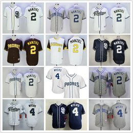Promotion johnny maillots manziel Hommes San Diego Padres Jersey 2 Johnny Manziel 4 Wil Myers retour Authentique Cooperstown MN Flex Cool Base Jersey - Marron Or Marine