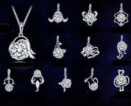 New 925 sterling silver necklace pendant twelve constellations pendants zodiac signs pendant, excluding chain,High quality free shipping