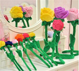 Wholesale Top Selling Plush Rose Flower for Children Kids Toys Gifts Multicolor Can Bending Plush Toys Curtain Plush Rose Flower Colors