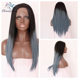 100% Brand New High Quality Fashion Picture full lace wigs>> 24''Brown To Gray Natural Striaght Hand tied Snythetic lace Front Glueless wig