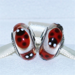 5pcs 925 Sterling Silver Screw Red Ladybugs Murano Glass Bead Fits European Pandora Jewelry Charm Bracelets Necklaces & Pendants DH063