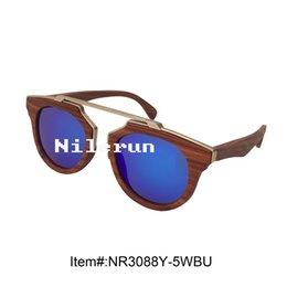 Big oval shape mirror blue polarized lenses matte gold metal bridge red rosewood sunglasses