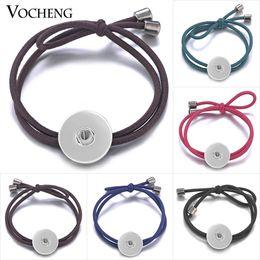 Caoutchouc pression en Ligne-VOCHENG NOOSA cheveux bandes Snap Charms Lady caoutchouc élastique 5 couleurs 18mm cheveux Bijoux NN-546