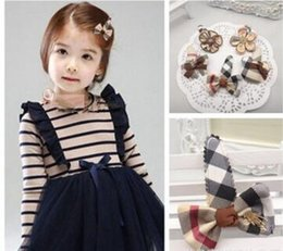 Wholesale European and American style children s hair accessories Students English grid BB clip hairpin clip headdress two styles