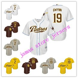 johnny manziel jerseys Promotion Men's San Diego Padres 2 Johnny Manziel 19 Tony Gwynn MLB Throwback Baseball Jersey Broderie Logo taille s-5XL