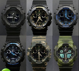 Wholesale G LED Waterproof Swimming G100 men sport Camouflage watches Classic S Shock denim blue watch Original Case