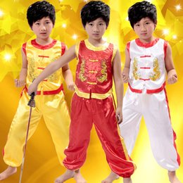 Wholesale 2016 New Products Hot Products Traditional Ethnic Kids Martial Arts Clothing Two Long Kung Fu Performance Clothing Free Shopping