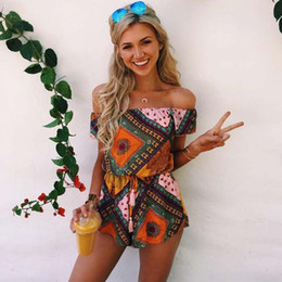Summer Ladies Loose Loose Off the Shoulder One Piece Floral Print Romper Womens Short Sleeve Playsuit Jumpsuit Drawstring Siamese Shorts
