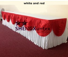 White Ice Silk Table Skirt With Red Swag \ Good Looking Table Skirting For Wedding