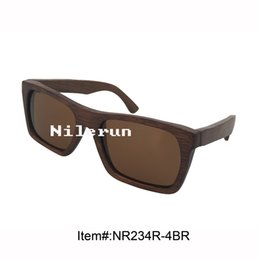 rectangle brown polarized lens brown bamboo frame sunglases