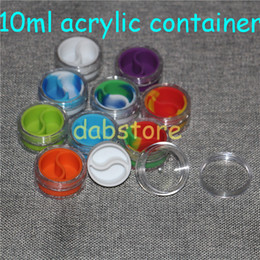 wholesale 10ml acrylic wax containers silicone jar dab wax containers , silicone dab jar glass oil containers free shipping glass bong