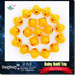 Wholesale Baby Bath Toy Sound Rattle Children Infant Kids Mini Yellow Rubber Duck Swimming Bathe Gifts bag