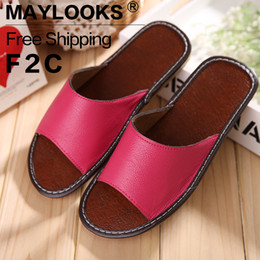 Free Shipping Summer Women's Indoor Slippers Genuine Leather Soft and Comfortable House Slippers Anti-Slip Home Shoes