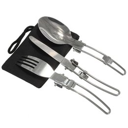 Stainless Steel Foldable Knife Fork Spoon Tableware Portable Outdoor Camping Utensils Set of 3