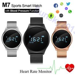 Cuero reloj pulsera corazón en Línea-Monitor de ritmo cardíaco Deportes Smart Watch pulsera de la presión arterial M7 Fitness Tracker de acero banda de cuero BT Reloj de pulsera para Xiaomi Huawei