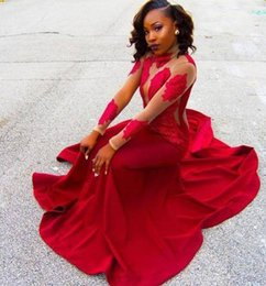 Hot High Neck Red Prom Dresses Sheath Illusion Long Sleeves Popular Lace Appliques 2K17 Black Girl Party Dresses Evening Gowns