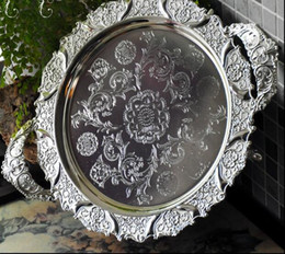round silver embossed metal serving tray storage tray with handle for fruit hotel restaurant home decoration