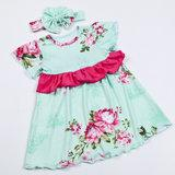 Wholesale Hot Sale digital floral pattern dress Infant Girl dress Ruffle Cotton dress with headhand short Sleeves